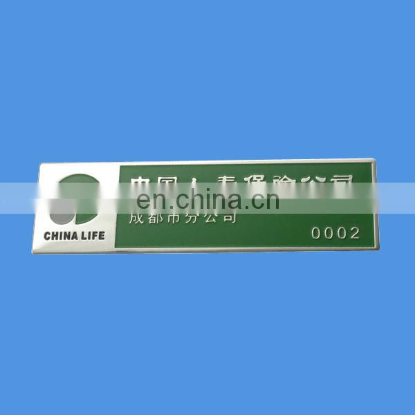 custom rectangular shape name badge with paper card