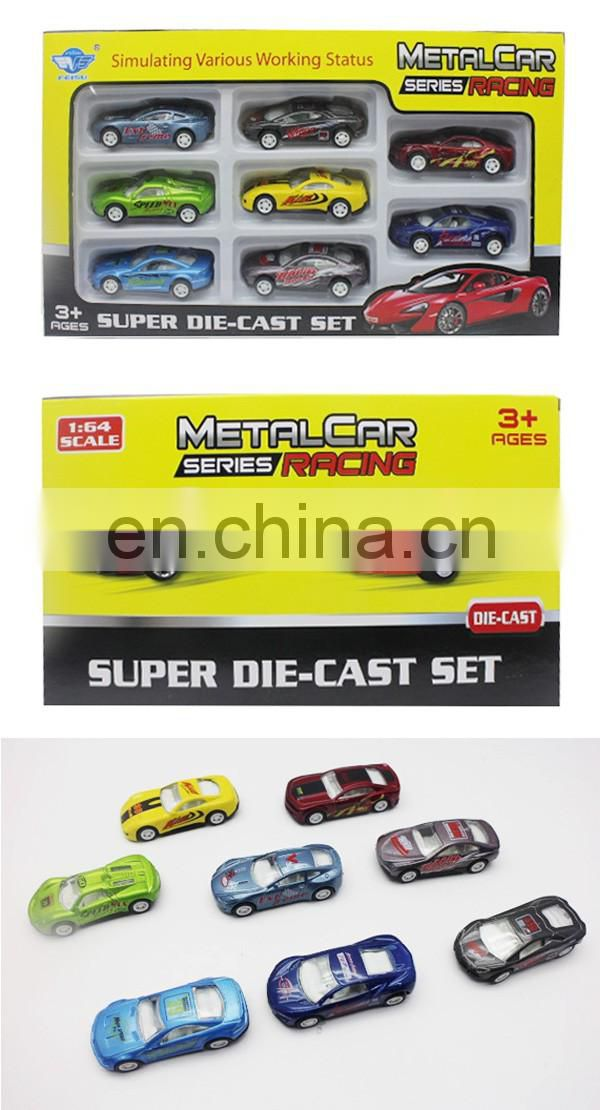 1:64 scale 8pcs pull back diecast cars model toy for kids