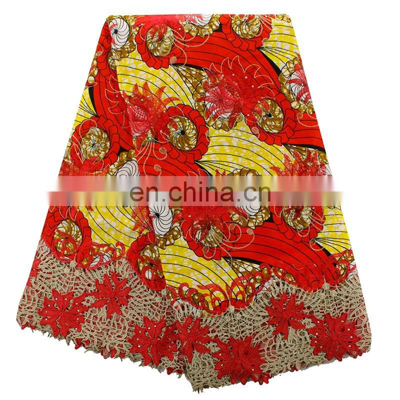 2016 unique african print with tulle fabric for women