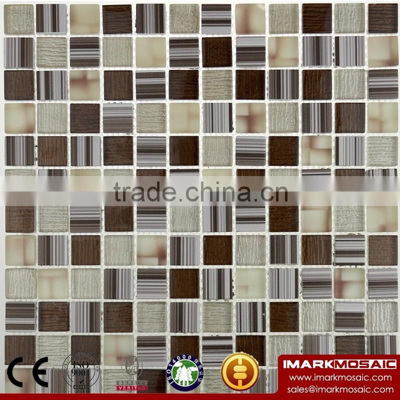 IMARK Brown Wood Texture Glass Mosaic With Painting Glass Mosaic And Misty Glass Mosaic