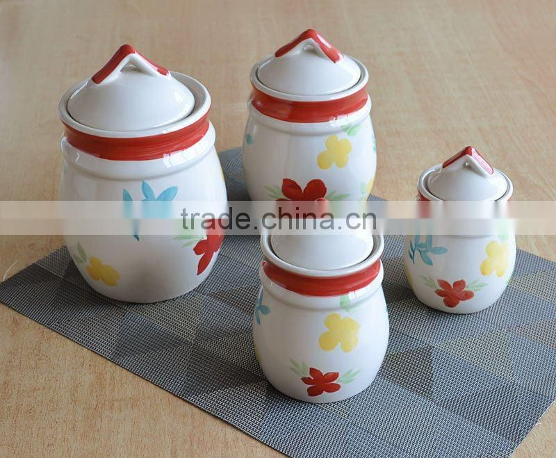 Hand Painted Ceramic Jar with Lid