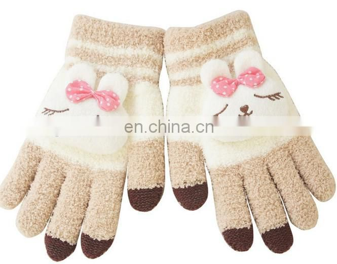 Innovative Pink rabbit winter warm capacitive Touchscreen gloves conductive gloves for ipad itouch