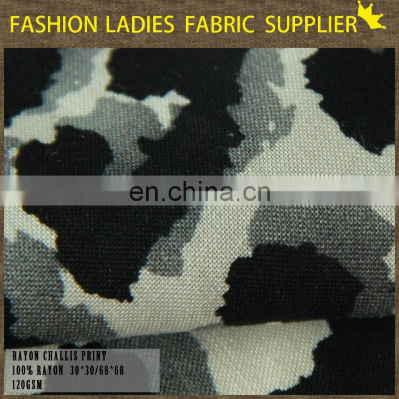 2015 spring new design 100%Printed viscose fabric for dress/ Printed Rayon fabric