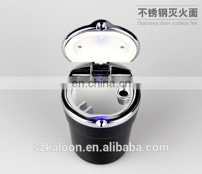 portable universal black/ white auto led lighted car ashtray