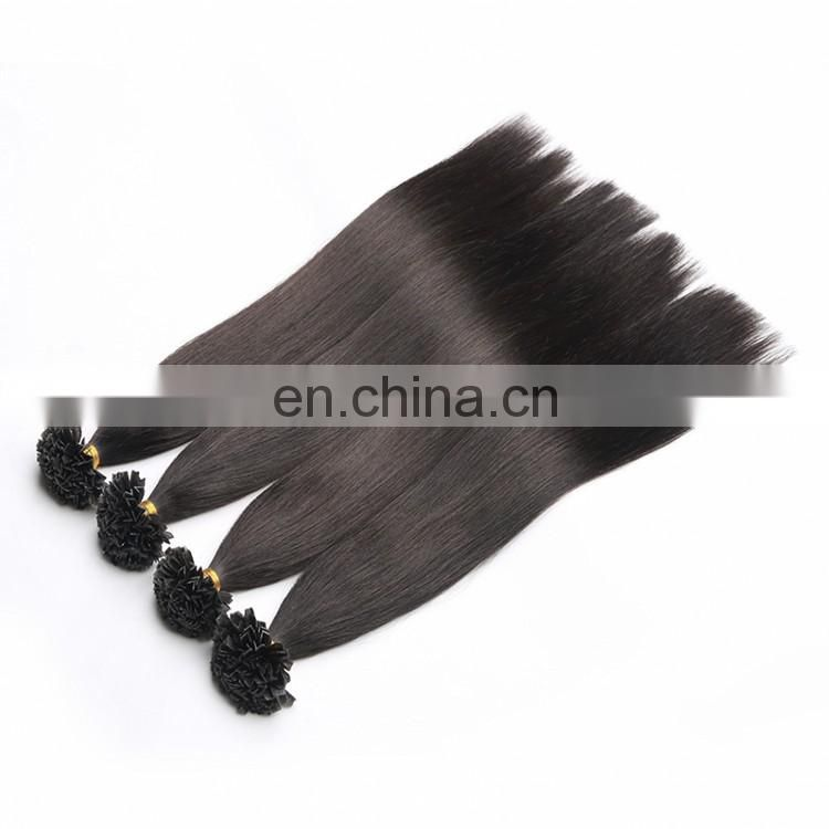 XMH Brand Top Quality Italy Glue Indian U/V Tip Hair 1g Per Strand Temple Virgin Indian Hair Remy Nail Tip Hair Extensions
