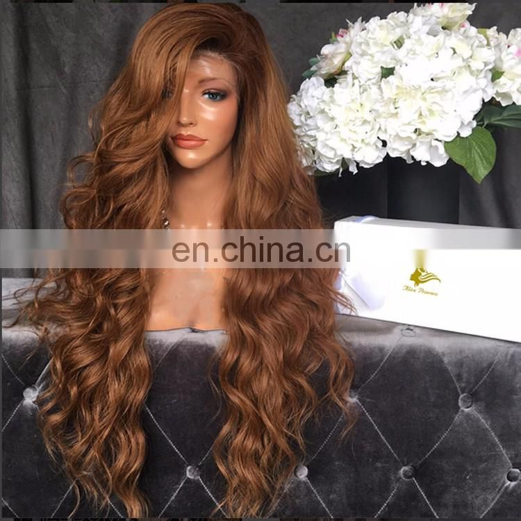 Medium Brown #30 #33 Color Long Hair Wig With Baby Hair Free Part 100% Peruvian Human Body Wave Hair Lace Front Wig For Women
