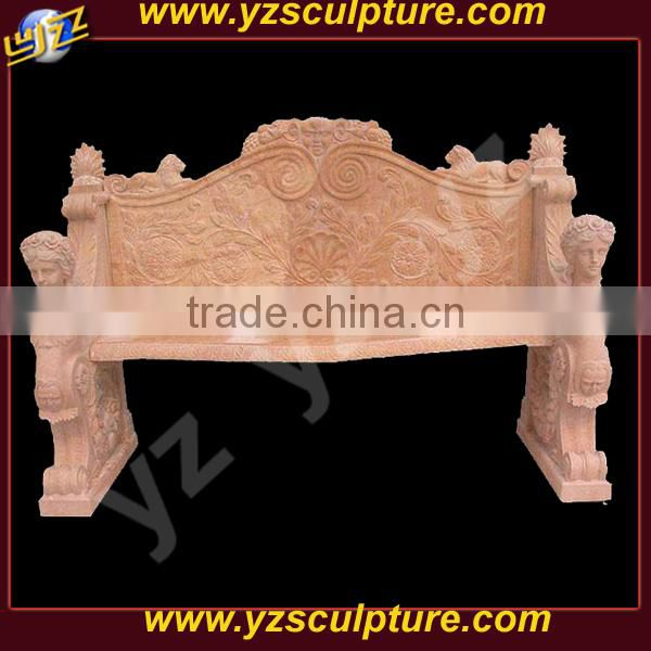 indoor beautiful large hand carved pink marble bench for sale