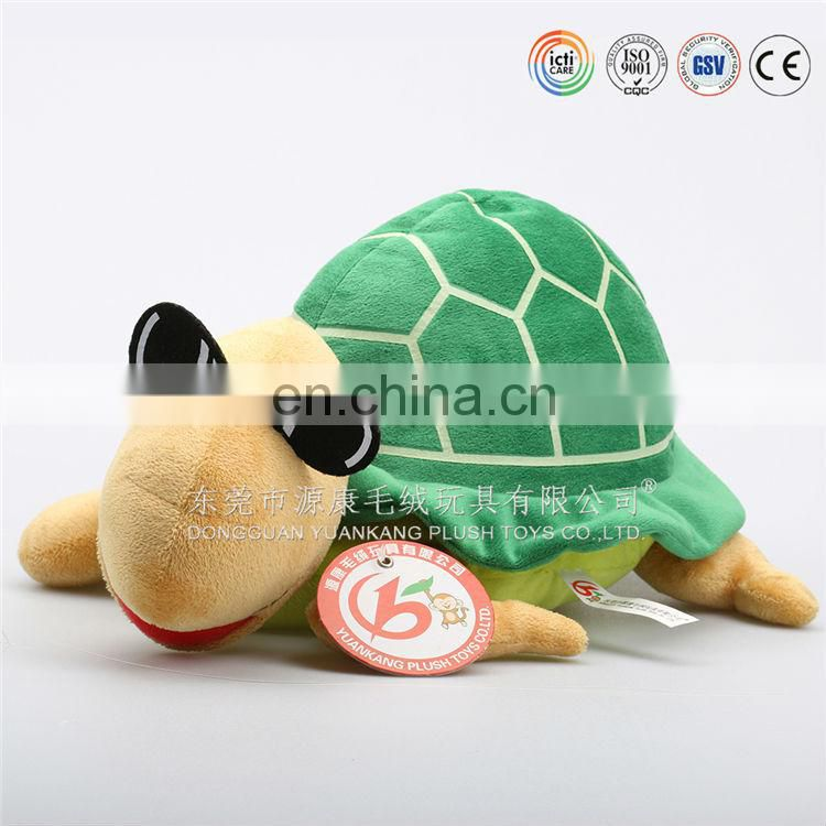 Plush green shell turtle with glasses