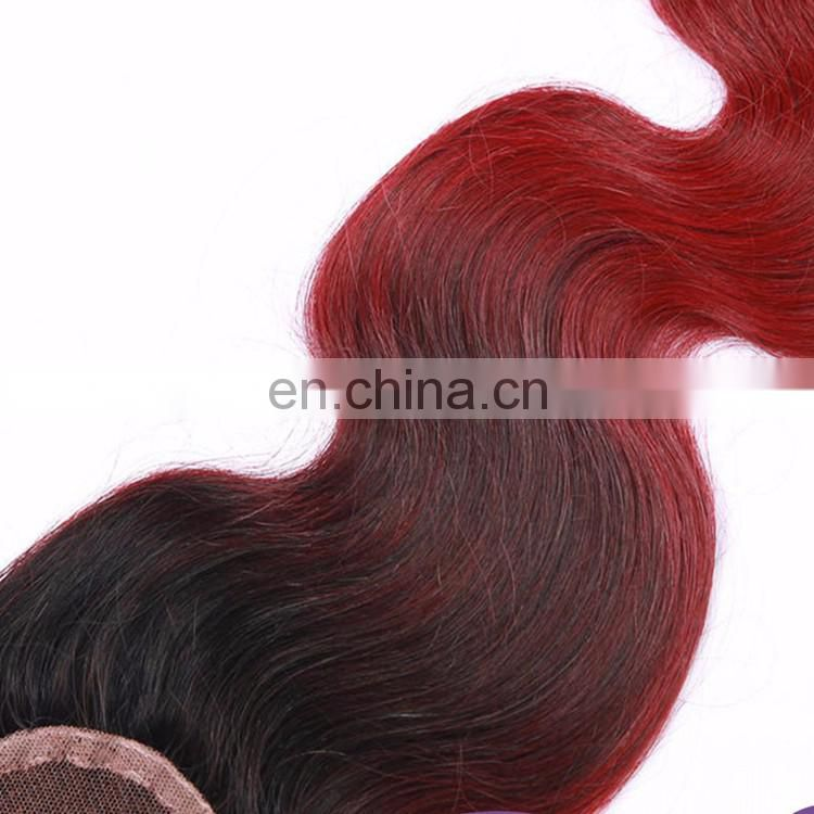 Ombre Indian Hair Wig Pieces Lace Closures Virign Human Hair Closure 1BTBUG Body Wave 6A Grade Full Lace Hair Closure Piece