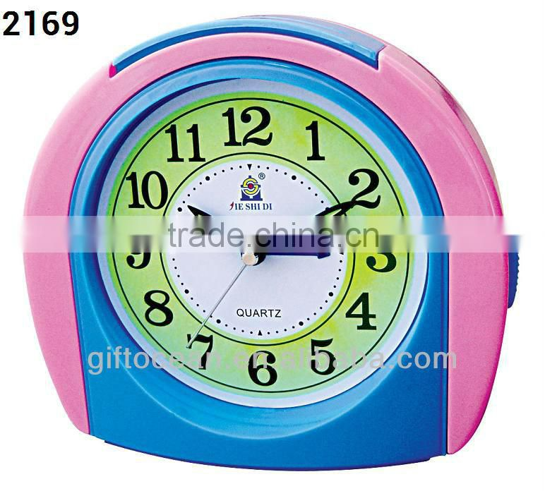 bell-shaped plastic alarm clock, analog melody music desktop clock, electron bell table alarm clock