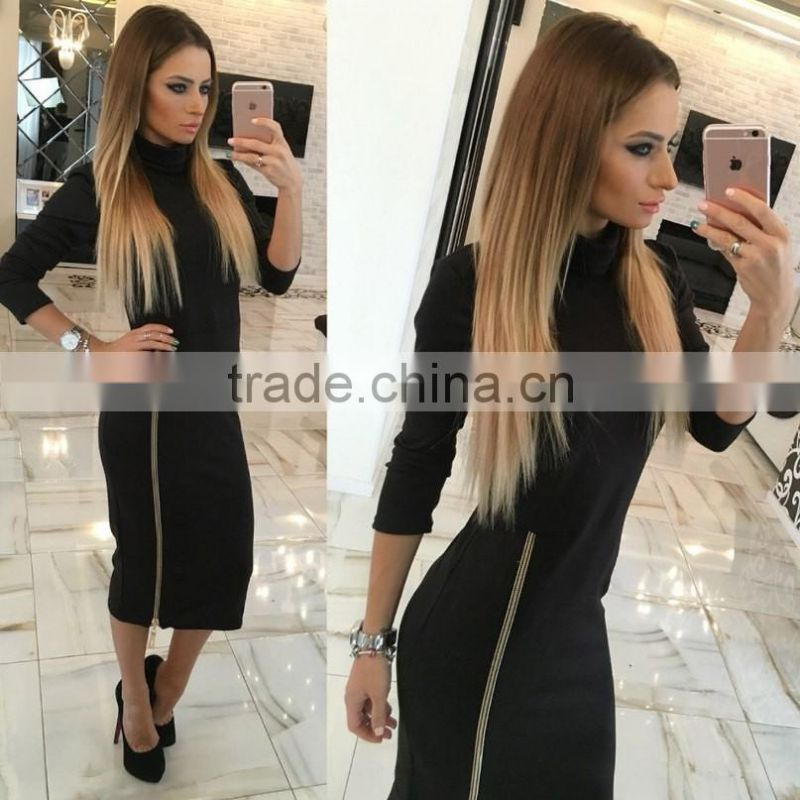 Autumn sexy Women's High Collar Slim Ladies long sleeves bottom zipper zipper slit sexy bodycon office dress
