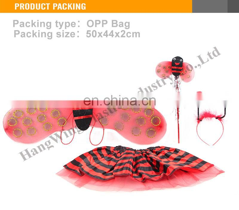 New Design Girl Beauty toy beetles wings and skirt headwear stick wholesale fairy wings