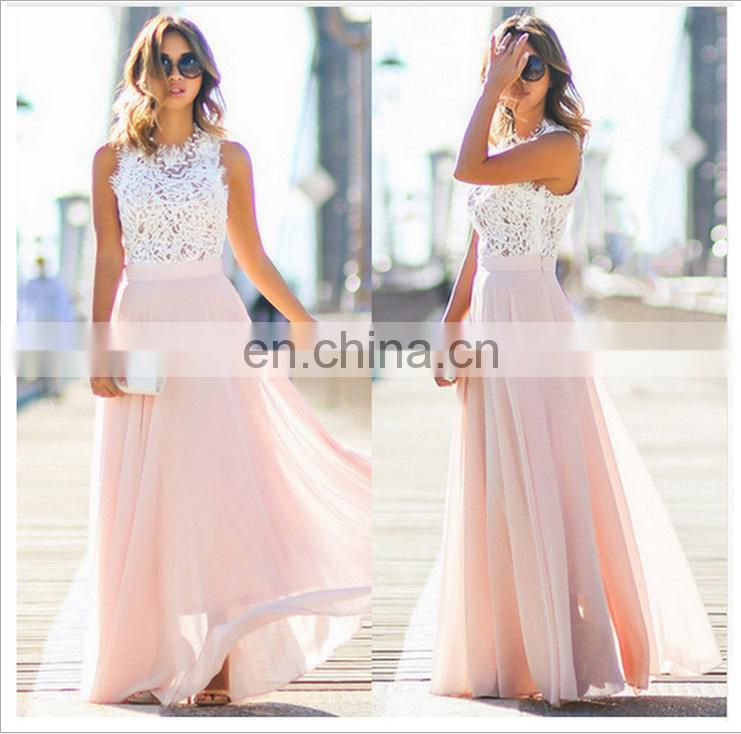 Chiffon Maxi Long Sleeves Women Sexy Beach Lace Femme Casual Dresses Evening Party Wear