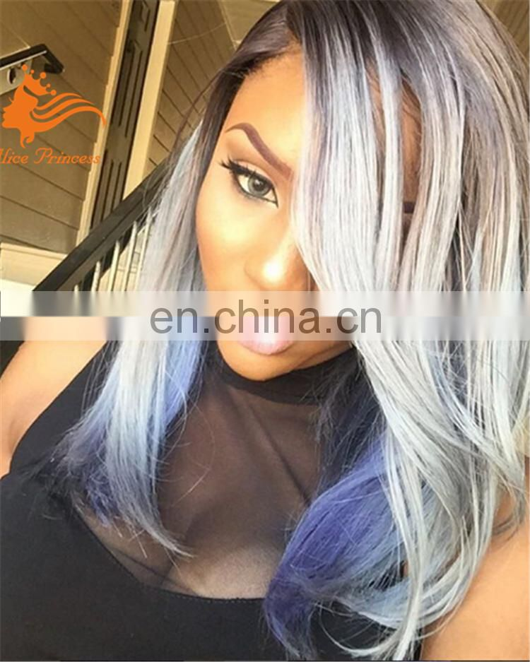 22'' Ombre Silver Grey Wig Top Grade Silk Straight Grey Hair brazilian full lace hair wig