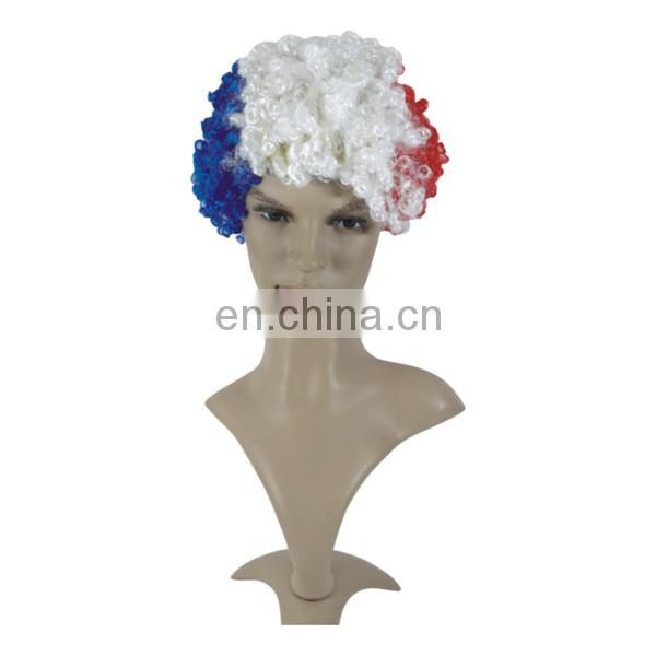 Football fan adult Curly wig