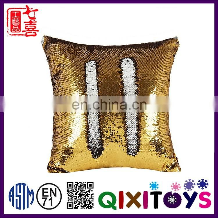Decorative custom-made reversible multi color sequin fabric pillow