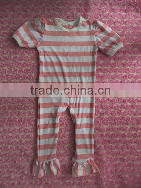 Hot Sale Toddler Girls Cotton Chevron Ruffle Romper Newborn Baby Pink Zigzag Long Sleeve one piece Jump Suits with Chiffon