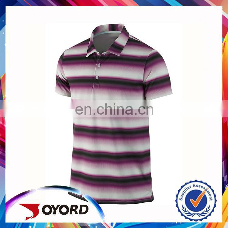 Custom purple stripe polo tee shirt wholesale funny golf wear