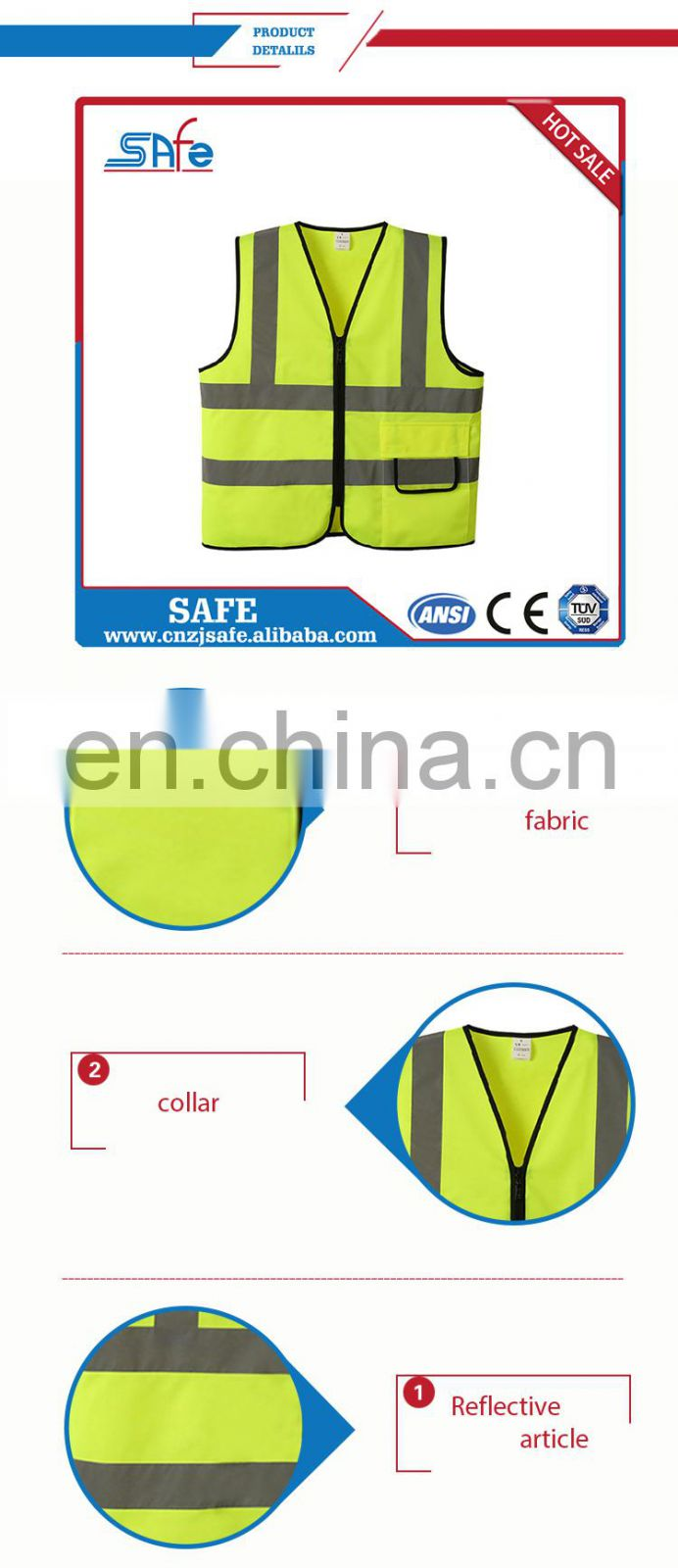 For road safety fabric for reflective safety CE high visibility yellow vests