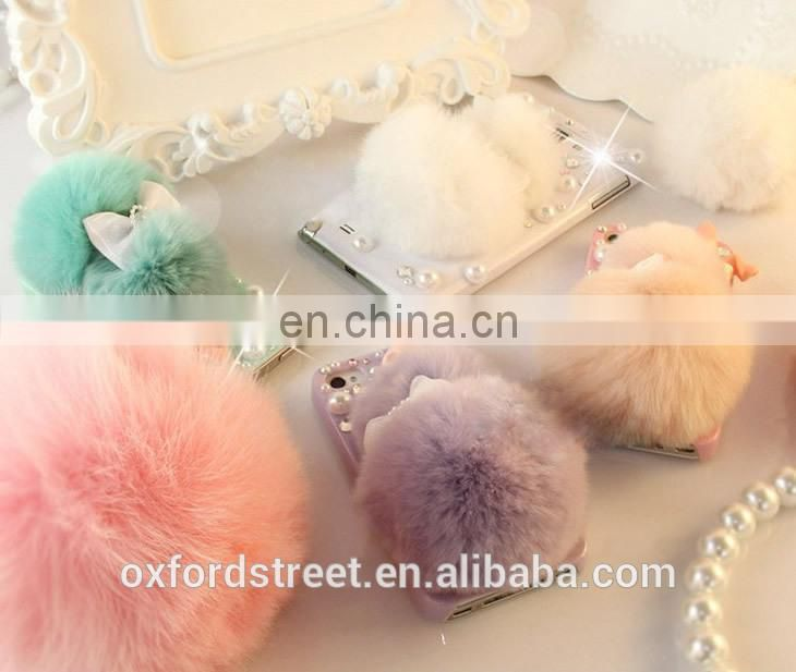 China Wholesale Winter Soft Warm Faux Rabbit Fur Crystal Cute Bowknot Protective phone case for girls