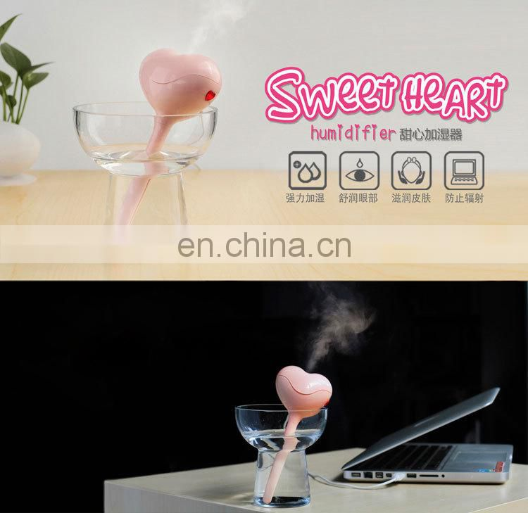 Hot sale Sweat Heart Shape Usb Humidifier usb mini humidifier Heart Shape Humidifier