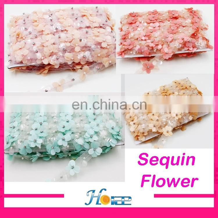 New arrival fany bridal lace trim sewing sequin flower lace trimming