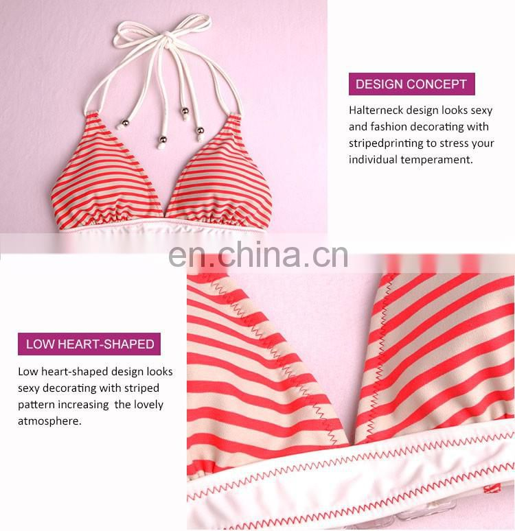 Fashionable Fantastic Halter Neck Padded Stripe Print Child Models Girls In Bikini