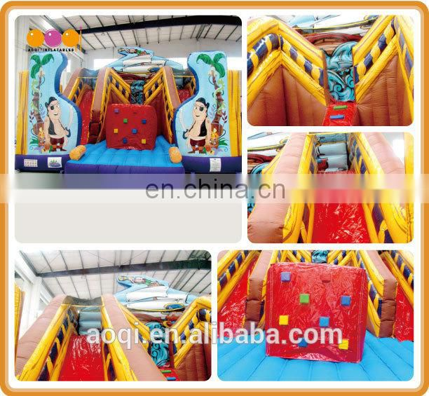 AOQI kids inflatable toys pirate fun city inflatable commercial grade funny inflatable fun city with slide for sale