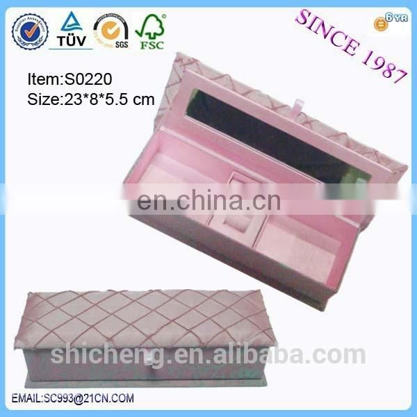 Pink colour paper mirror hair extension packaging box