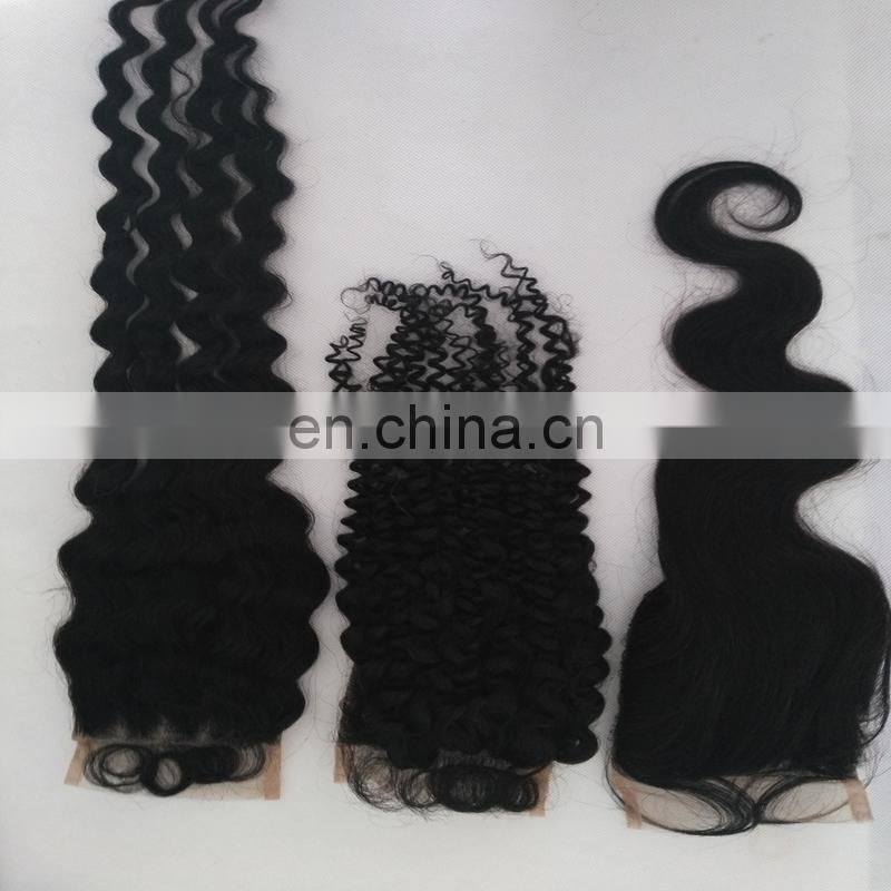 Top quality natural brazilian hair lace closure straight/deep wave /body wave/kinky curly large in stock human hair lace closure
