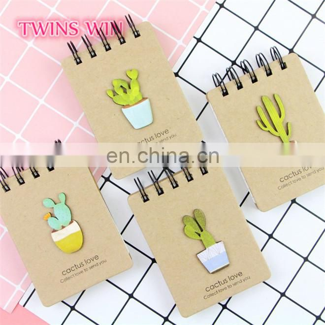 2018 China advertisement stationery wholesale high quality cute funny cactus design kraft paper covers notebook custom printing