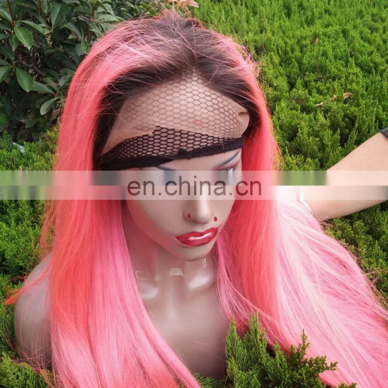 New arrival pink two tone color brazilian silky straight human wigs