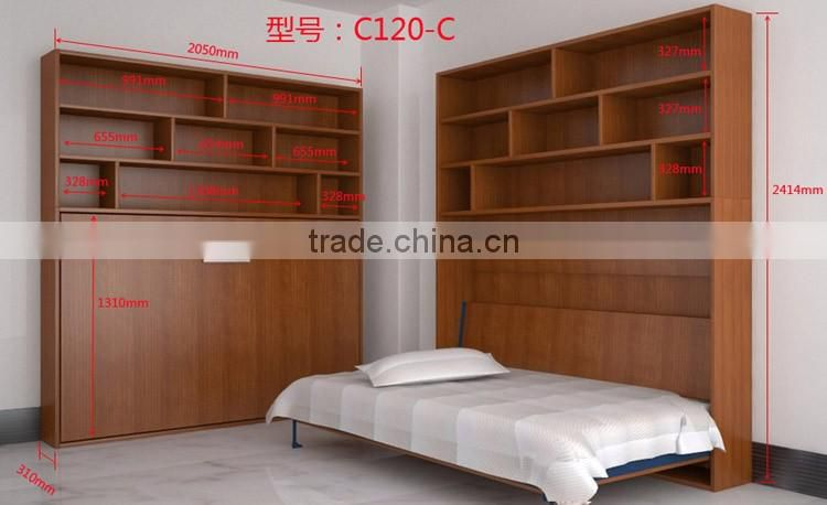 saving hidden wall bed,folding wall bed,wall bed with cabinet(SZ-WBA90-C )