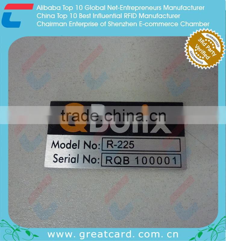 Aluminum Barcode Label With Series Number
