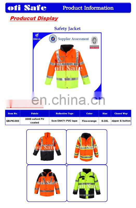 Hi vis reflective safety jacket