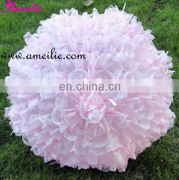 Whole 39 cm pink lace parasol