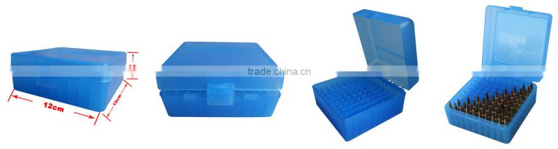 New brushed Indestructible portable plastic bullet box rifle case storage box blue for ammunition reloading (TB-905)