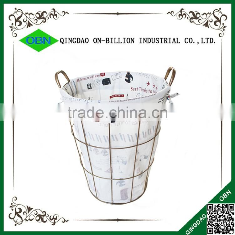 Wholesale decorative wire laundry basket with handles