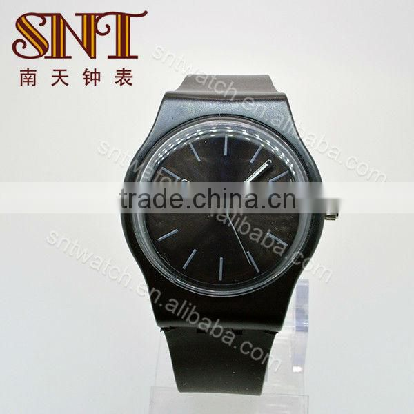 SNT-SI051H hot sale popular silicon band watch, unisex,customize color, PVC case,19mm wide bracelet,black dial and band watch