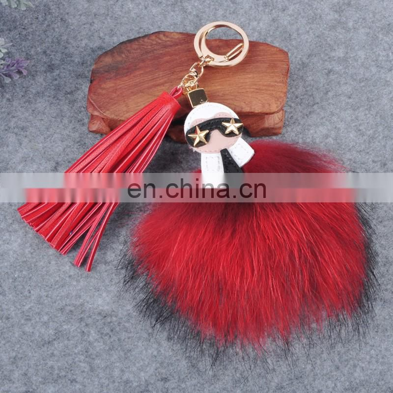 New fashion real raccoon fur key rings for bag/car keychains handmade