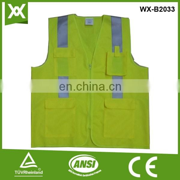 Factory made polyester traffic work road safety security custom pockets vest