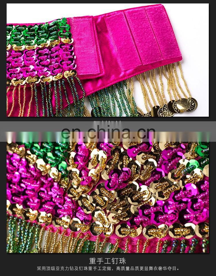 New arrival long beaded tassel performance sexy bellydance costumes