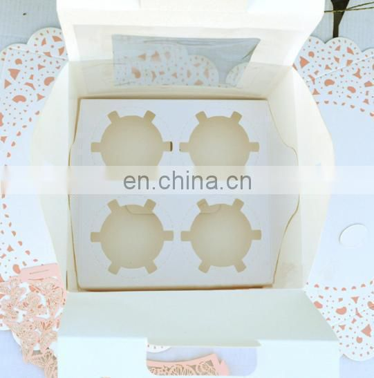 Folding coated paper & food paper cupcake box printing with paper insert