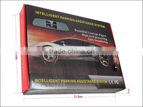 Wireless parking sensor with car backup reverse camera ,4.3inch lcd mirror with, 4 waterproof sensors