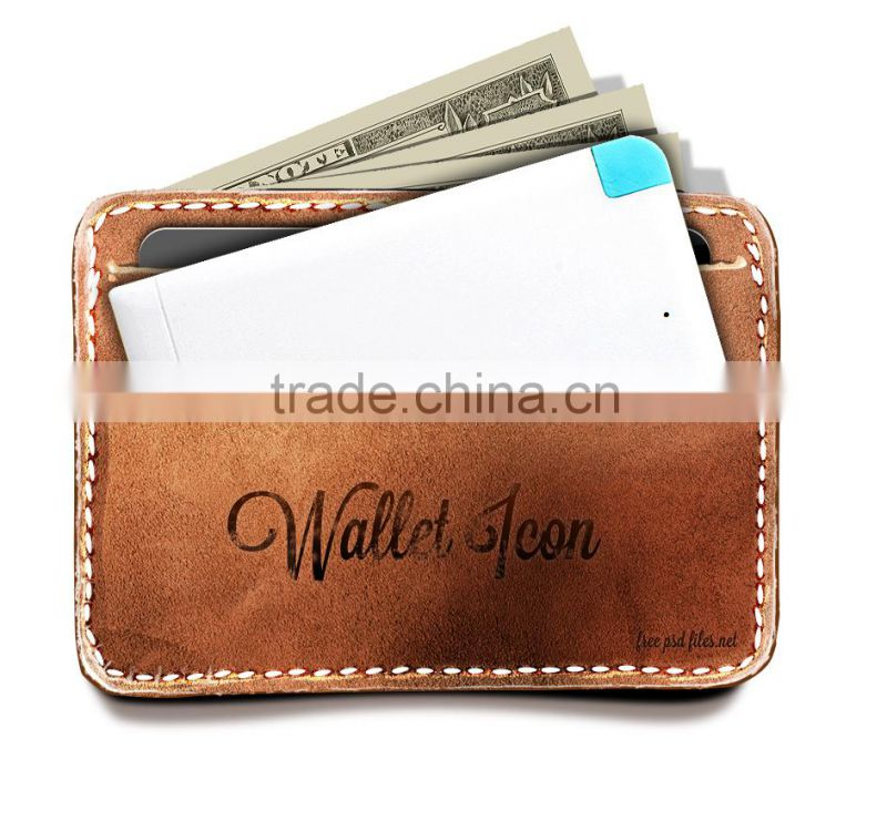 Promotional 2500mah Credit Card Wallet Power Bank With Micro Usb For Android