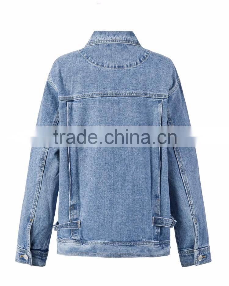 top girls top design street wear fashiion women korean type badges denim jeans jacket skinny ladies blouse