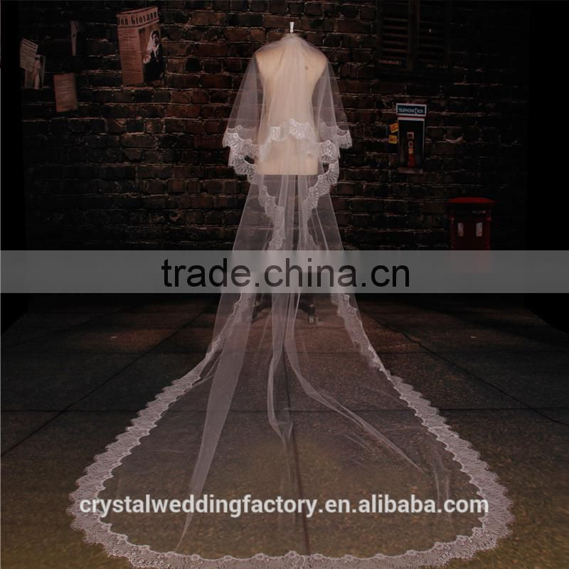 2015 wholesale vintage style white ivory long lace cathedral wedding veils accessories 3 meters long and 1.5 meters width LV11