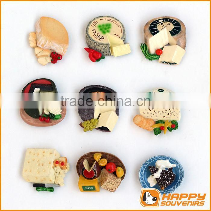 Wine glasse bread cheese craft resin fridge magnet