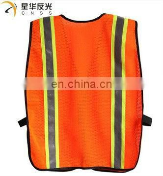 fluorescent mesh reflective safety vests with two-tone tapes