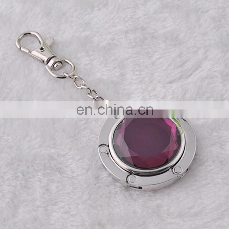 Different color crystal Foldable bag hook hanger with keychain